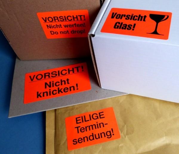 Verpackungs-/ Warnetiketten leuchtrot 90x50mm