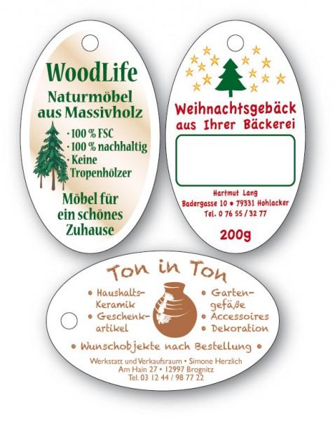 Anhänge-Etiketten aus Karton - 30x50 mm - OVAL