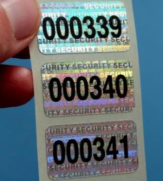 """Nummerierte Etiketten: Hologramm-Papier """"SECURITY"""""""