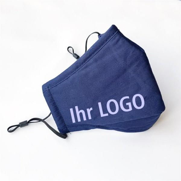 Stoffmaske mit Logodruck, waschbar, wiederverwendbar