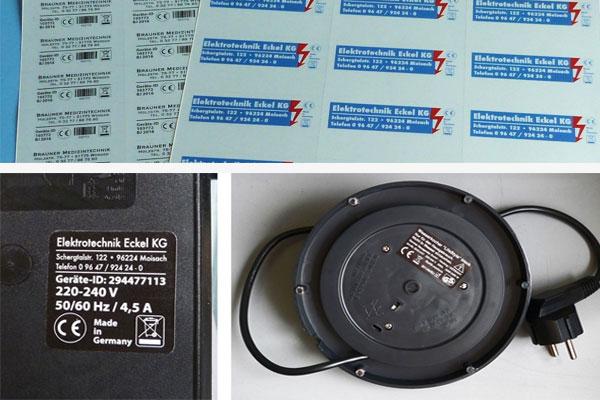Etiketten für Maschinen und Geräte