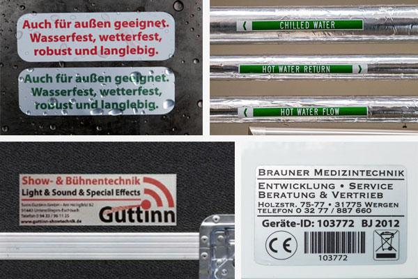 Etiketten für Metall- und Kunststoffoberflächen