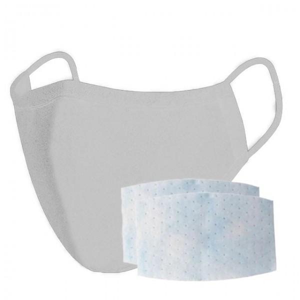 Stoffmaske, grau mit 2x Filter (3-lagig)