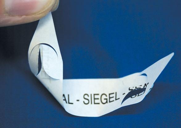 Ablösbare Siegel mit Spezialstanzung