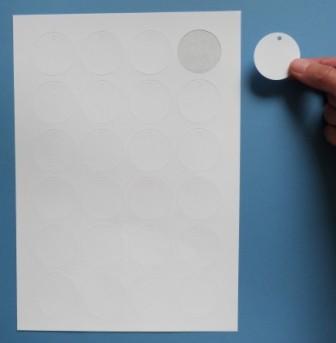 Anhänge-Etiketten aus Karton, 40x40 mm rund, auf A4-Bogen für Laserdrucker