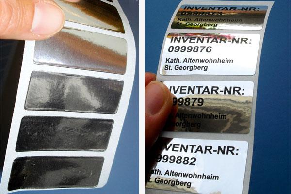 silberne pe-folien-labels