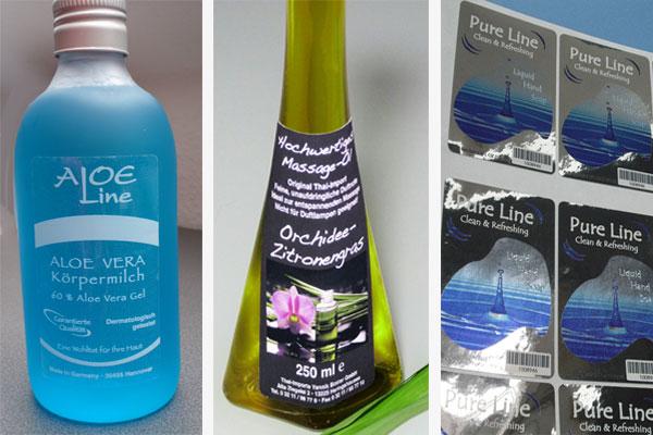 Etiketten für Beauty, Kosmetik und Wellness