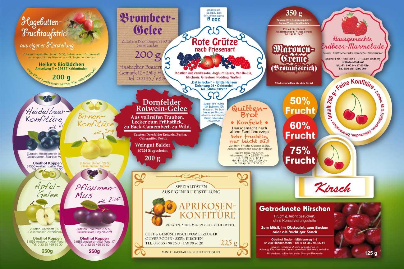 Marmeladeetiketten, Geleeaufkleber