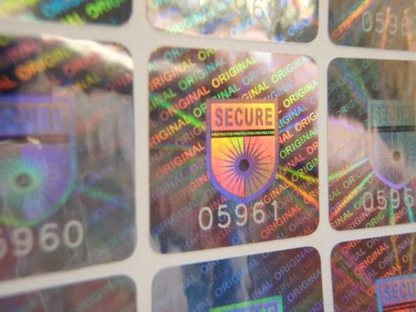 Hologrammetikett SECURE mit fortlaufender Nummerierung