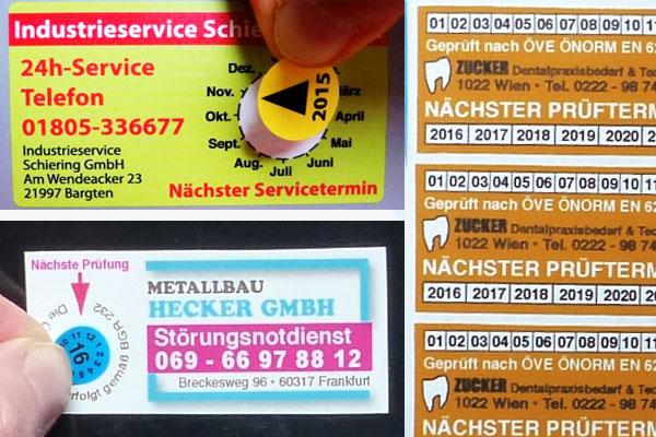 Wartungsaufkleber, Prüfsiegel und Servicelabel mit individuellem Aufdruck