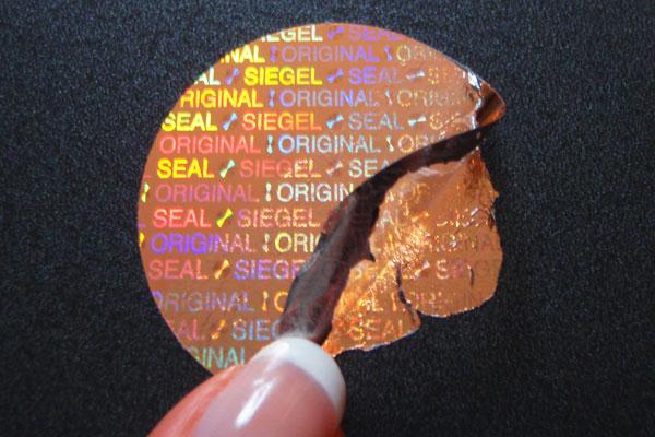 Siegel Hologrammfolie Original-Siegel-Seal - kupferfarben