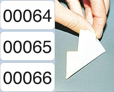 Nummerierte Etiketten - PE-Folie, weiß-glänzend, Klebstoff ABLÖSBAR