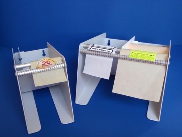 Etikettenspender aus Metall - grau - für Rollenetiketten