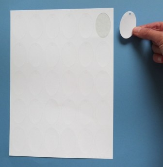 Anhänge-Etiketten aus Karton, 30x50 mm oval, auf A4-Bogen für Laserdrucker