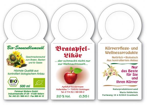 """Anhänge-Etiketten aus Karton - Sonderform """"FLASCHENANHÄNGER"""" 53,33x117"""