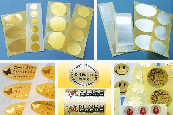 Etiketten in gold oder silber