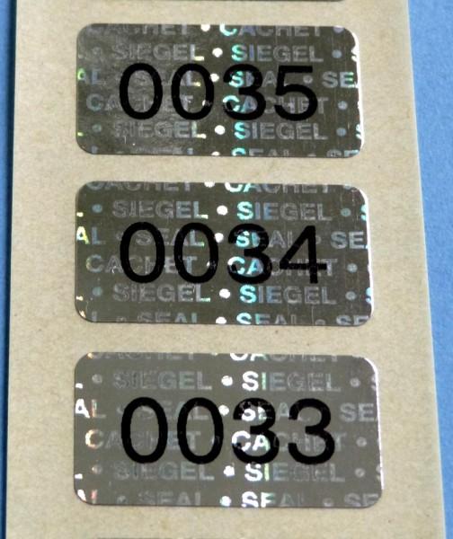 """Nummerierte Etiketten: Hologramm-Papier, silber-glänzend, """"SIEGEL-SEAL-CACHET"""""""