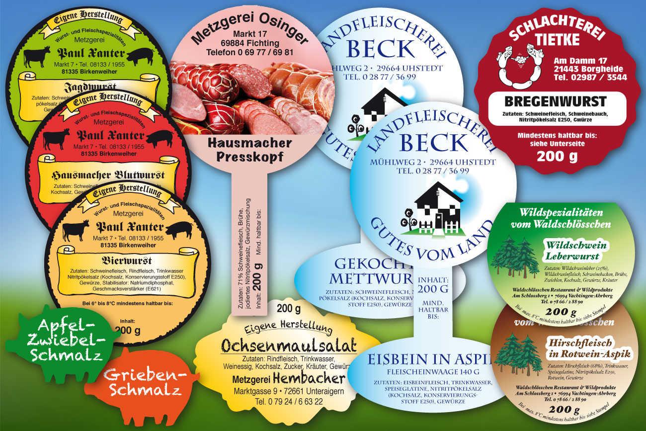 Etiketten für Wurstgläser