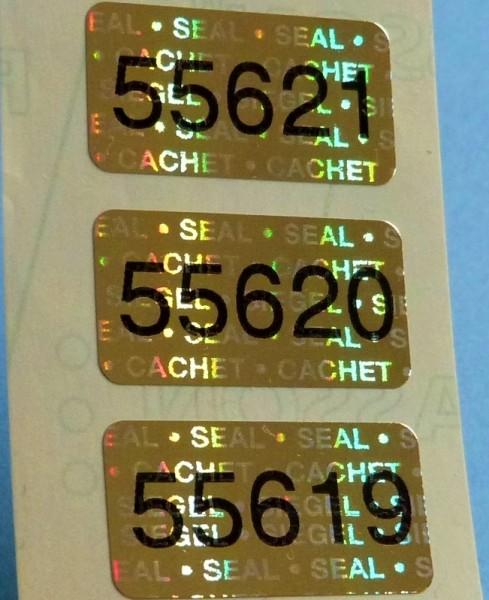 """Nummerierte Etiketten: Hologramm-Papier, gold-glänzend, """"SIEGEL-SEAL-CACHET"""""""