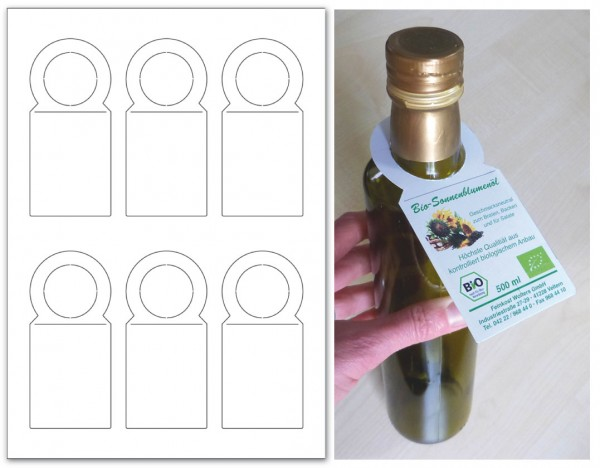 """Anhänge-Etiketten aus Karton, 53,33x117 mm """"Flaschenanhänger"""", auf A4-Bogen für Laserdruck"""