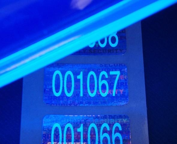 """Nummerierte Etiketten: Hologramm-Papier """"SECURITY"""" mit Lumineszenzdruck"""