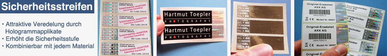 hologrammstreifen im etikett