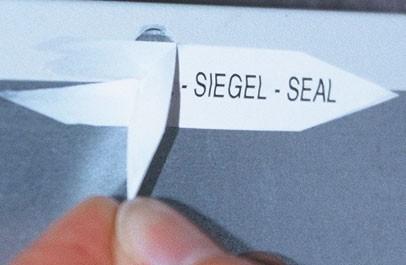 """Sicherheits-Siegel """"spitz"""" - PE-Security-Film - mit Wunschtext"""