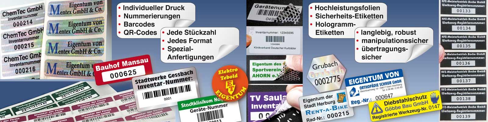 aufkleber für inventar, eigentumskennzeichnung
