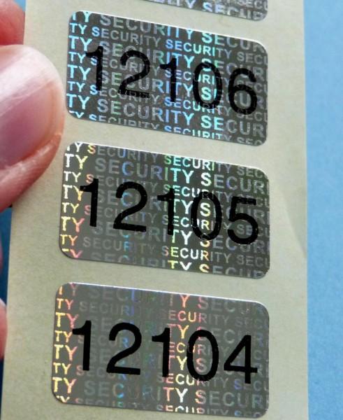 """Nummerierte Etiketten: Hologramm-Papier, silber-glänzend, """"SECURITY"""""""