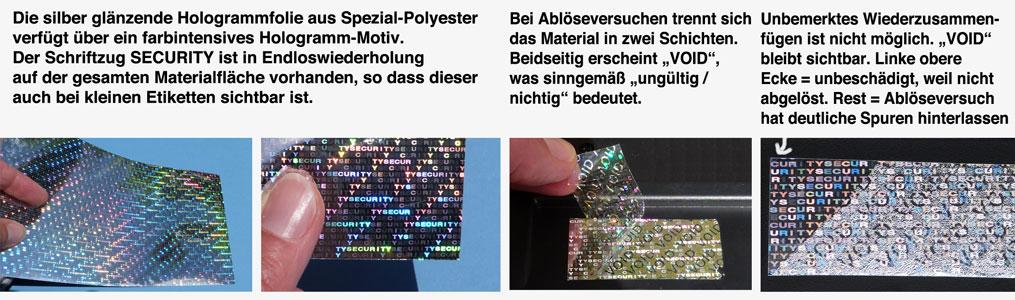 Hologrammlabels SECURITY und VOID