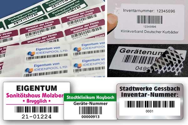 inventaraufkleber mit barcode