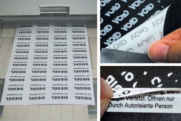 VOID-Sicherheitsfolie auf A4 Bogen für Laserdrucker