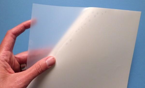 Polyester-Folie, transparent-matt, auf A4-Bogen