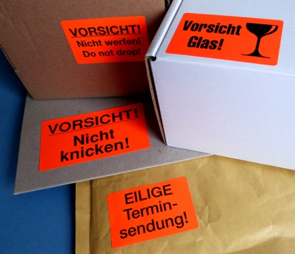 Verpackungs-/ Warnetiketten leuchtrot 60x40mm