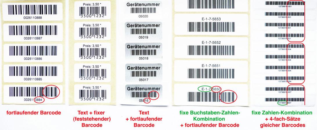 nummeriermöglichkeiten mit barcodes
