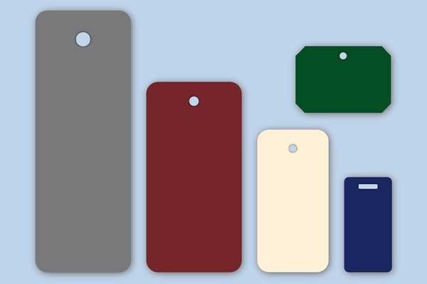 Rechteckige Anhängeetiketten in verschiedenen Farben