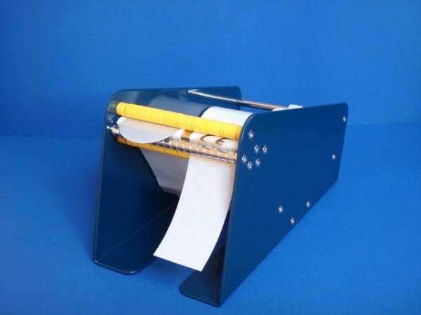Etikettenspender aus Metall - blau - für Rollenetiketten