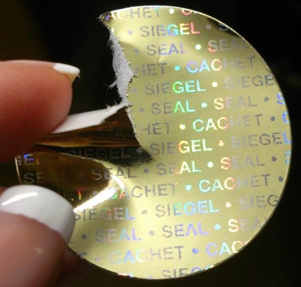 """Hologramm-Papier, gold glänzend, """"SIEGEL-SEAL-CACHET"""" - große Formatauswahl"""