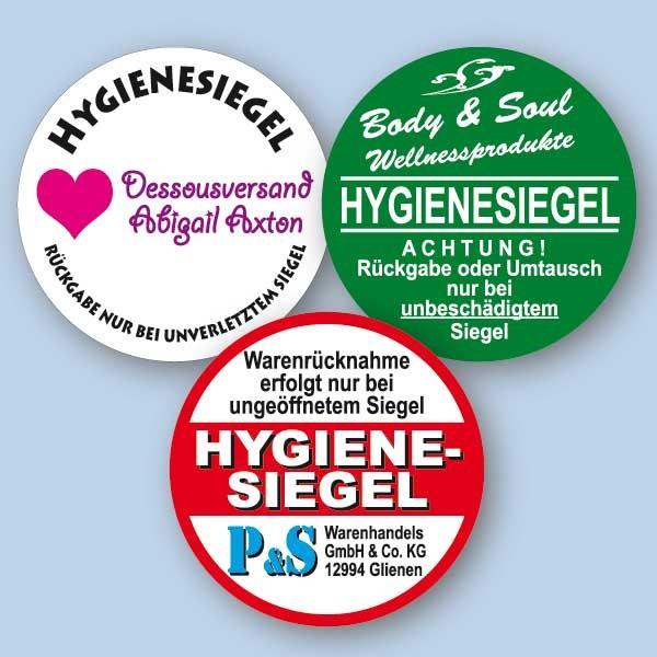 Hygienesiegel, individuell mit Wunschtext - rund 32x32 mm