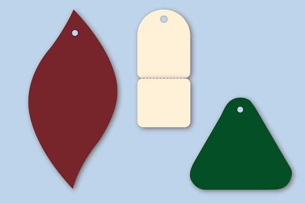 Anhängeetiketten in Sonderform in verschiedenen Kartonfarben
