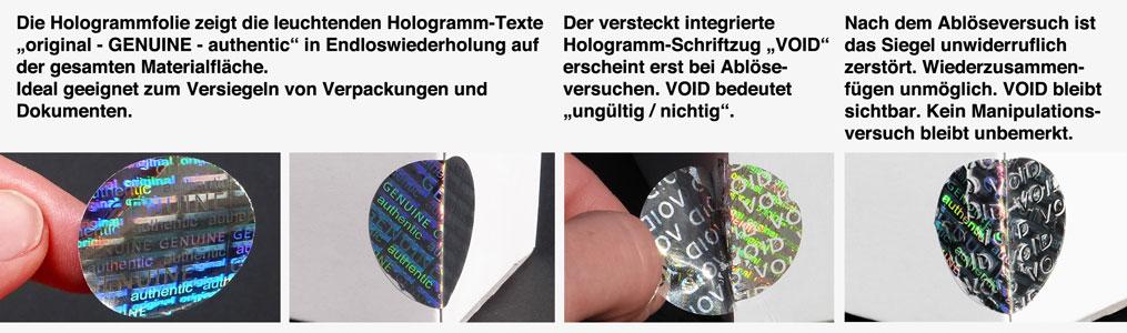 void hologramm aufkleber