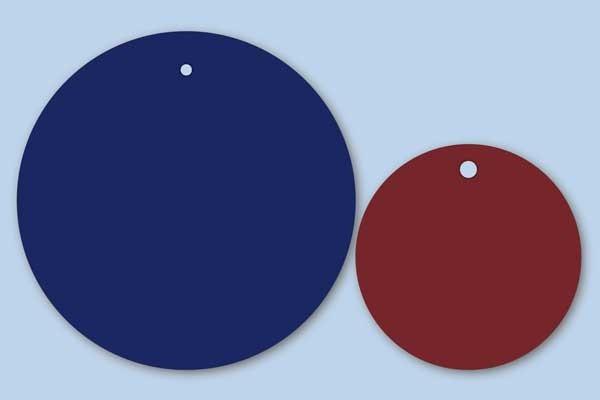 Runde Anhängeetiketten in verschiedenen Farben