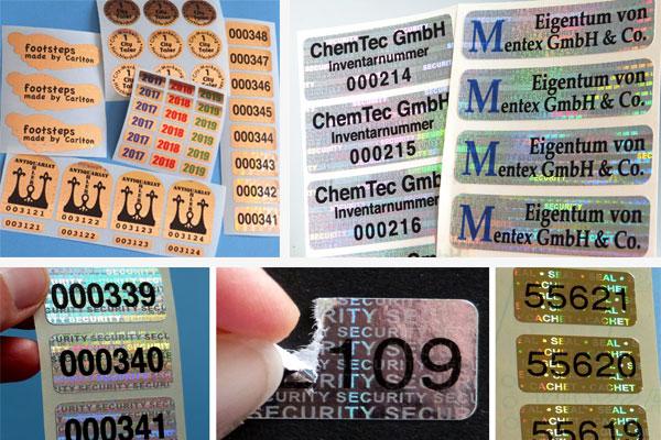 hologrammaufkleber mit text und nummer