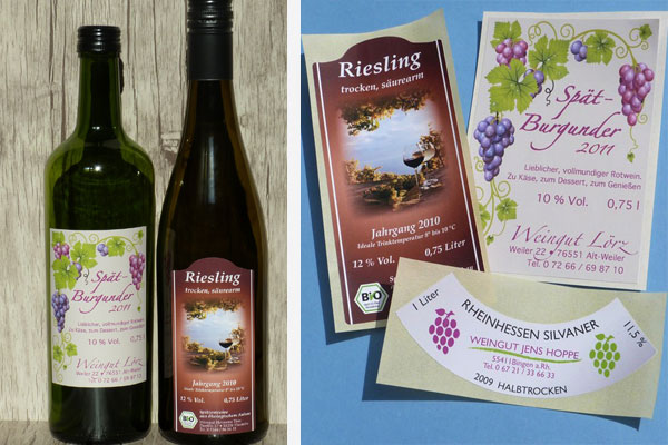 Labels für Weinflaschen