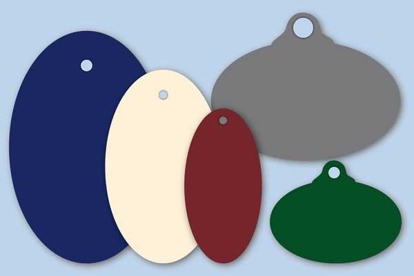 Ovale Anhängeetiketten in verschiedenen Farben