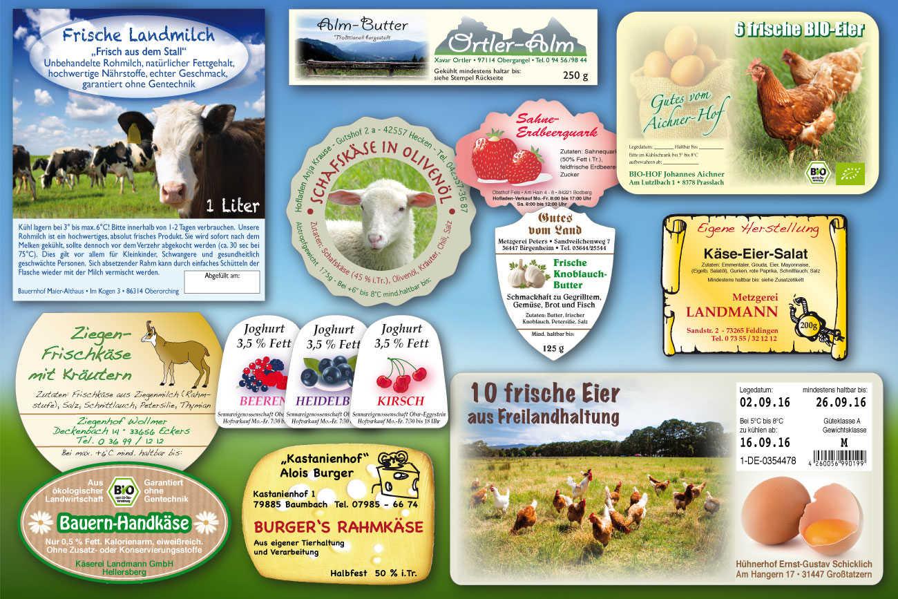 Aufkleber für Eierkartons, Milchflaschen, Käse