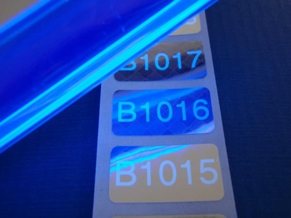 Nummerierte Etiketten: Schachbrettmusterfolie, silber-glänzend mit Lumineszenzdruck