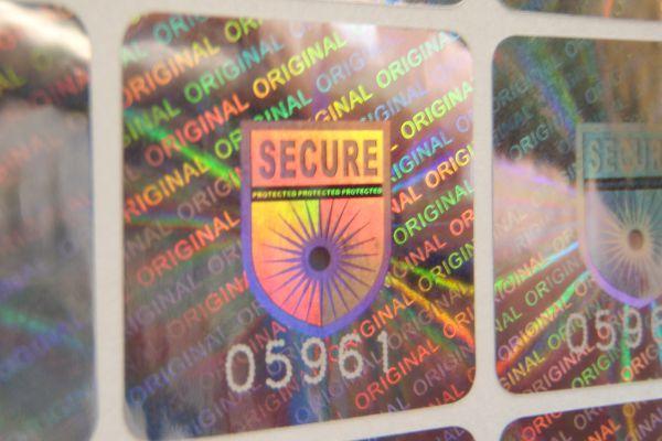 Hologrammsiegel SECURE + fortlaufende Nummerierung