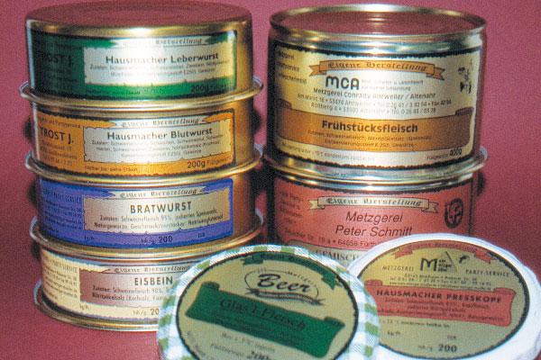 Fleischereibedarf Wurstdosenetiketten