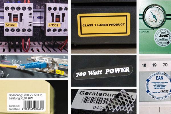 typenschilder für elektrogeräte